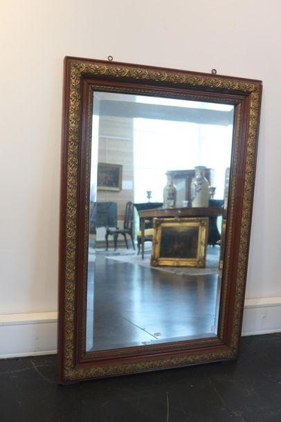 Miroir rectangulaire, fin XIXe, bois laqué...