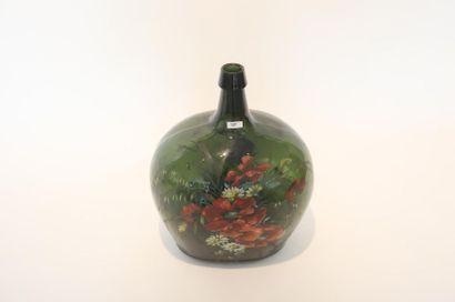 MARTIN Mona Bouteille méplate à décor floral polychrome, XXe, verre soufflé, signée,...
