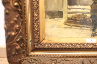 """FLAMAND M. """"Scène hivernale animée"""", début XXe, huile sur panneau, signée en bas..."""