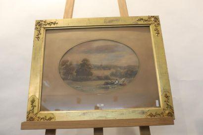 """ECOLE ANGLAISE """"Paysage animé"""", XIXe, aquarelle gouachée sur papier coloré, signée..."""