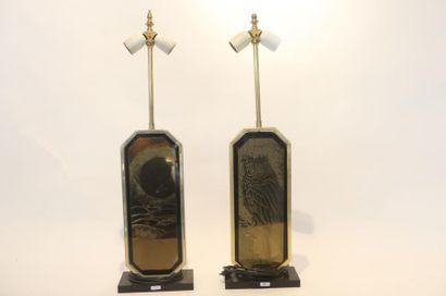 DESIGNO MAHO - MATHIAS Georges Paire de pieds de lampe Vintage, circa 1970, métal...