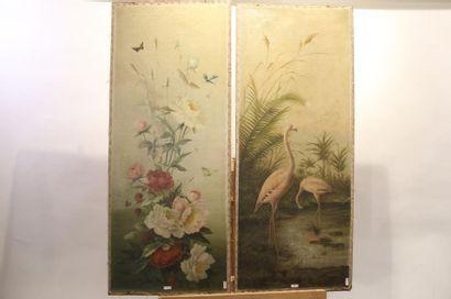 """CARON Joseph (1866-1944) """"Bouquets et flamants roses"""", 1901, suite de trois panneaux..."""