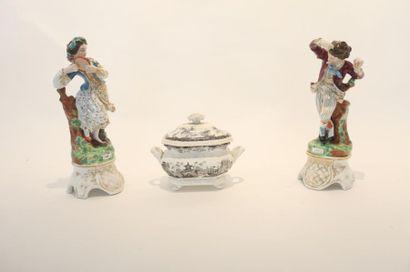 """""""Danseurs espagnols"""", XIXe, paire de sujets en porcelaine émaillée et dorée, h...."""