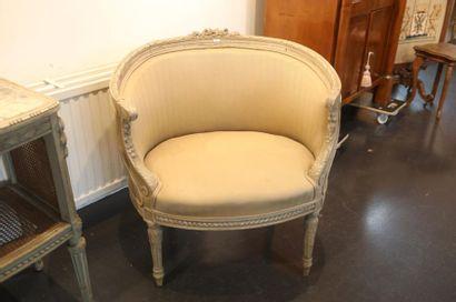 Bergère en corbeille de style Louis XVI,...