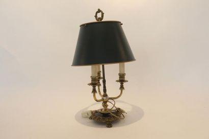 Lampe de bureau à trois feux, XXe, métal,...