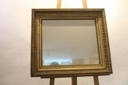 Miroir rectangulaire, XIXe, bois et stuc...