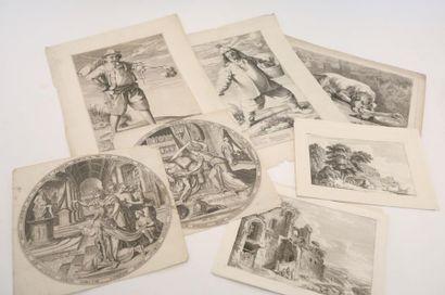 Lot d'estampes anciennes :  - GALLE Philip...