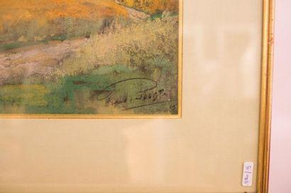"""HOLST Frans (1876-1935) """"Village"""", 1929, pastel sur papier, signé et daté en bas..."""