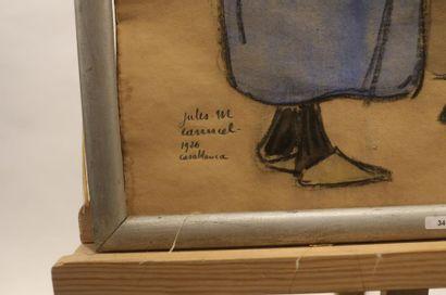 "CANNEEL JULES MARIE (1881-1953) ""Juifs de Casablanca"", 1926, fusain et aquarelle..."
