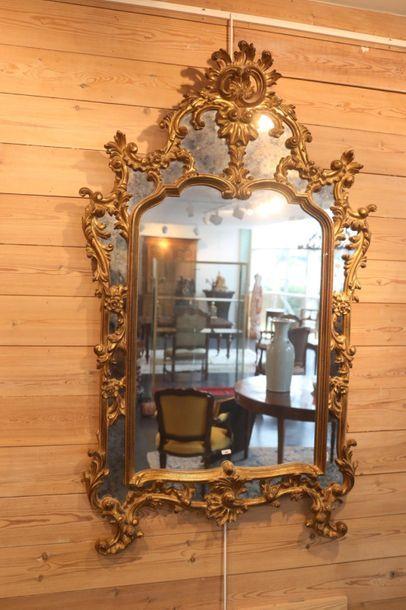 Miroir Rocaille à parcloses, XXe, bois stuqué...
