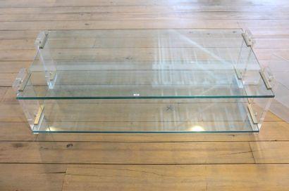 Table basse rectangulaire Design à double...