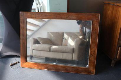 Miroir rectangulaire, XXe, bois de placage...