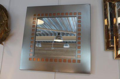 Miroir carré Design, circa 1980-90, métal...