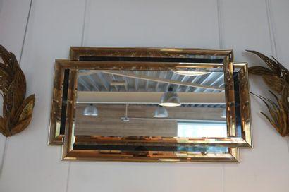 Deux miroirs Vintage à parcloses biseautées,...