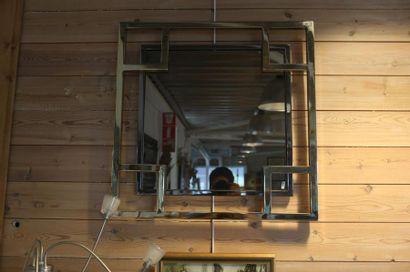 Miroir carré Vintage, circa 1970-80, métal...