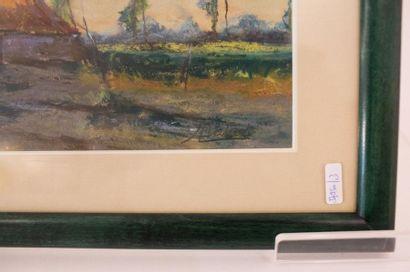 """DUTOIT Arthur (1878-1954) """"Paysage à la fermette"""", début XXe, pastel sur papier,..."""