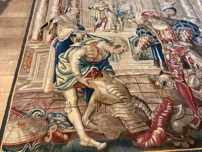 """FLANDRES, """"Scène aulique"""", probablement fin XVIe, très beau fragment de tapisserie,..."""