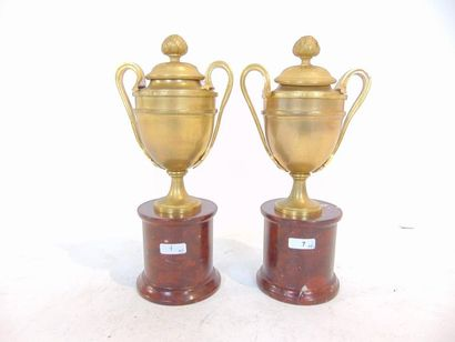 Paire de cassolettes néoclassiques en urne...