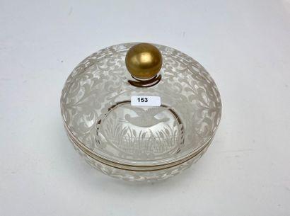 Bonbonnière à décor cynégétique, XXe, cristal...