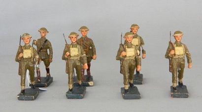 DURSO, 7 soldats belges marchants [3 abî...