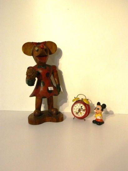 Statuette de Minnie Mouse, XXe, bois sculpté...