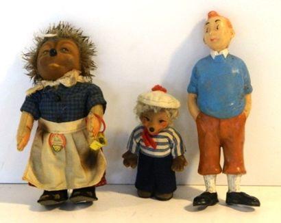 Figurines (4) : 2 STEIFF Micki, h. 16 cm...