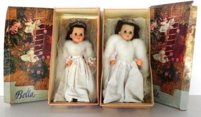 BELLA, made in France, 2 poupées, tête caoutchouc,...