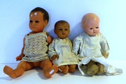 Bébés tête en celluloïd (3) : gros bébé TORTUE,...