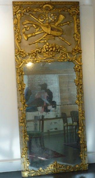 Important trumeau d'époque Louis XV aux attributs...