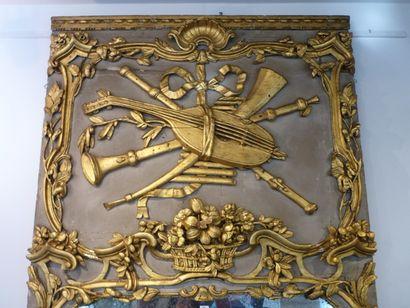 Important trumeau d'époque Louis XV aux attributs musicaux, XVIIIe, bois sculpté...