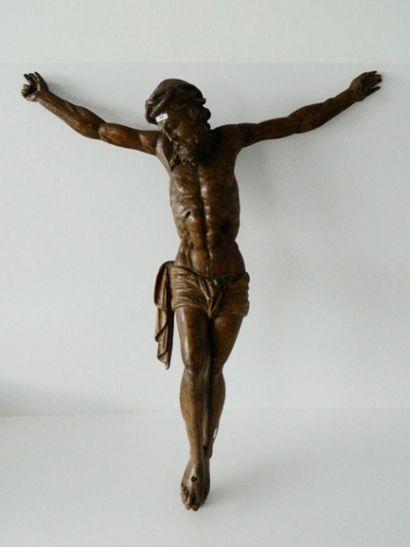 Crucifix d'époque Baroque, XVIIe, chêne sculpté,...