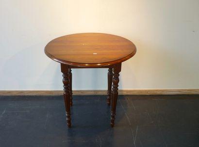 Petite table gateleg ronde, XIXe, bois mouluré...