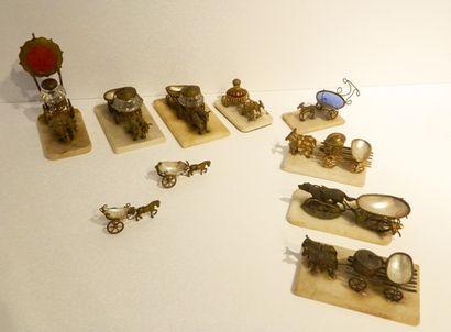 Collection de dix attelages miniatures, fin...