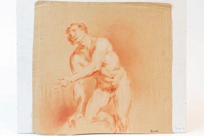 "HERREYNS Willem Jacob (1743-1827) [attribué à] Étude d'homme nu"", fin XVIIIe, sanguine..."