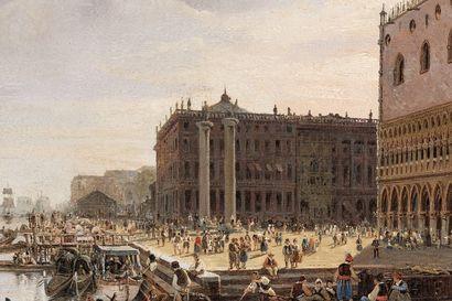 """VAN LOON Pieter (Amsterdam, 1801- Utrecht, 1873) """"Venise - La Piazzetta"""", 1845, huile..."""