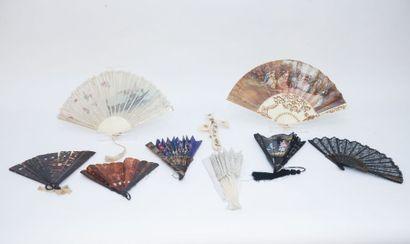 Collection d'éventails, XIX-XXe, neuf pièces (six dans leur écrin) [états divers]...