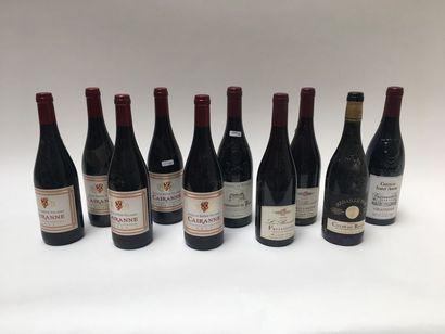 CÔTES-DU-RHÔNE Rouge, dix bouteilles :  - Côtes-du-Rhône 1998, une bouteille ;  -...