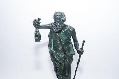 "MARIOTON Claudius (1844-1919) ""Diogène de Sinope"", fin XIXe, épreuve en bronze à..."