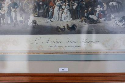 """BOILLY Louis Léopold (1761-1845) [d'après] """"L'Arrivée d'une diligence"""", lithographie..."""