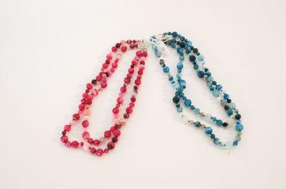 DE CHANGY CRÉATIONS Quatre petits colliers de fantaisie à perles nuancées [neufs...