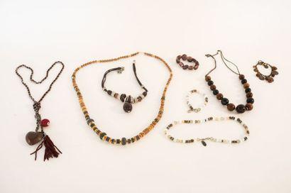 Lot de bijoux de fantaisie camaïeu automnal...