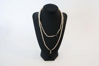 Collier à double rang de perles en chute,...