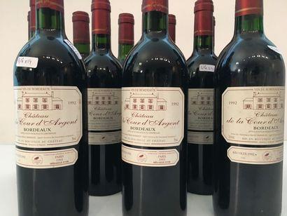BORDEAUX, rouge, Château de la Cour d'Argent 1992, quatorze bouteilles [bas-gou...