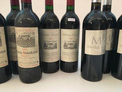 BORDEAUX Rouge, ensemble de huit bouteilles : - (Fronsac), Château Beauséjour 2000,...