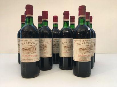 BORDEAUX (Saint-Emilion - Grand Cru) Rouge, Château Tour Lescours 1988, onze bouteilles...