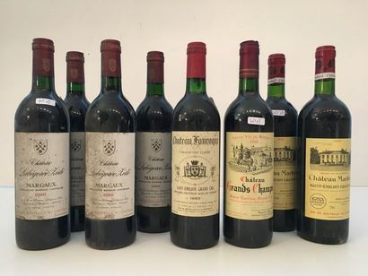 BORDEAUX Rouge, ensemble de huit bouteilles : - (Saint-Emilion - Grand Cru Classé),...