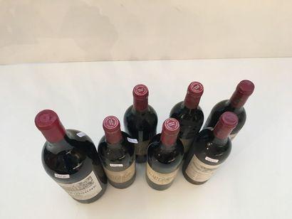BORDEAUX Rouge, ensemble de six bouteilles et un magnum : - (Pessac-Léognan), Domaine...