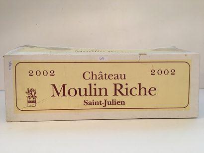 BORDEAUX (SAINT-JULIEN) Rouge, Château Moulin Riche 2002, six bouteilles dans leur...