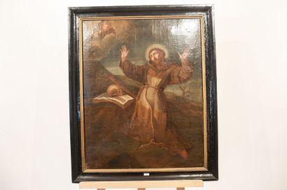 """École HISPANO-FLAMANDE """"L'Extase de saint François"""", XVIIe, huile sur toile, 73,5x58..."""