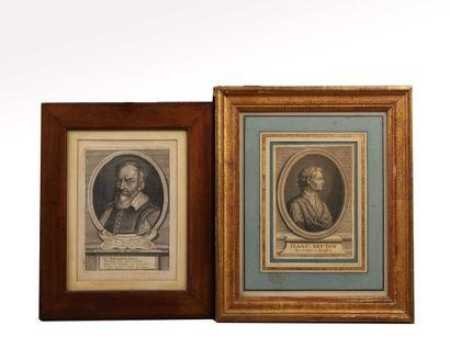 Deux portraits en médaillon, l'un de Galileo...